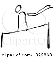 Clipart Of A Black And White Olympic Gymnast Stick Man Athlete On A Horizontal Bar Royalty Free Vector Illustration