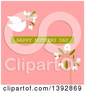 Clipart Of A Dove Flying With Flowers And Happy Mothers Day Text On Pink Royalty Free Vector Illustration
