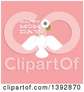 Clipart Of A Dove Flying With A Flower And Happy Mom Day Text On Pink Royalty Free Vector Illustration