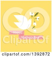 Clipart Of A Dove Flying With Flowers And Happy Mothers Day Text On Yellow Royalty Free Vector Illustration