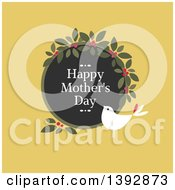 Clipart Of A Dove With A Happy Mothers Day Wreath On Yellow Royalty Free Vector Illustration