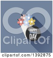 Clipart Of A Bouquet Of Flowers And A Happy Mothers Day Badge On Blue Royalty Free Vector Illustration