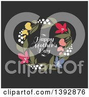 Clipart Of A Wreath Of Flowers And Happy Mothers Day Text On Black Royalty Free Vector Illustration