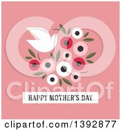 Clipart Of A Dove Flying With A Bouquet Of Flowers And Happy Mothers Day Text On Pink Royalty Free Vector Illustration