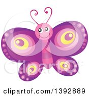 Clipart Of A Happy Purple Butterfly Royalty Free Vector Illustration by visekart