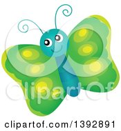 Clipart Of A Happy Green Butterfly Royalty Free Vector Illustration by visekart