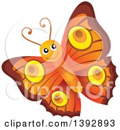 Clipart Of A Happy Orange Butterfly Royalty Free Vector Illustration by visekart