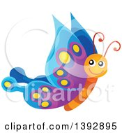 Clipart Of A Happy Butterfly Royalty Free Vector Illustration by visekart