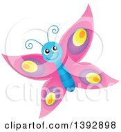 Clipart Of A Happy Pink Butterfly Royalty Free Vector Illustration by visekart