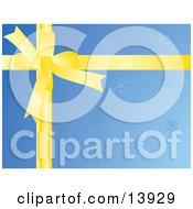 Yellow Bow Over Blue Snowflake Christmas Wrapping Paper Clipart Illustration
