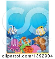 Clipart Of A Group Of Marine Fish Eel And Octopus Royalty Free Vector Illustration