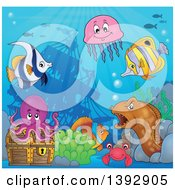 Clipart Of Marine Life And A Treasure Chest By A Sunken Ship Royalty Free Vector Illustration by visekart
