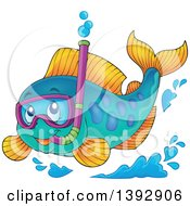 Clipart Of A Marine Fish Wearing A Snorkel Mask Royalty Free Vector Illustration by visekart