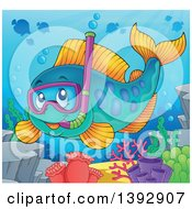 Clipart Of A Snorkel Fish Royalty Free Vector Illustration by visekart