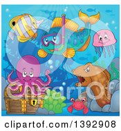 Clipart Of A Snorkel Fish And Friends By A Sunken Ship Royalty Free Vector Illustration by visekart