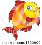 Clipart Of An Orange Fish Royalty Free Vector Illustration