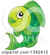 Clipart Of A Happy Green Fish Fish Royalty Free Vector Illustration by visekart
