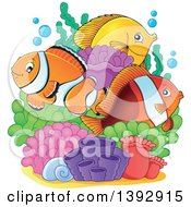 Clipart Of Clownfish And Yellow Tang Marine Fish At A Reef Royalty Free Vector Illustration