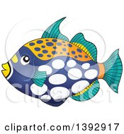 Clipart Of A Clown Triggerfish Marine Fish Royalty Free Vector Illustration by visekart