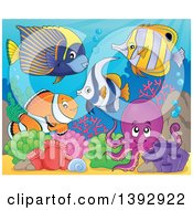 Clipart Of A Group Of Marine Fish And Octopus Royalty Free Vector Illustration by visekart