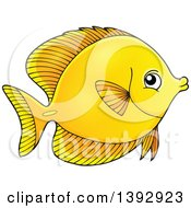 Clipart Of A Yellow Tang Marine Fish Royalty Free Vector Illustration