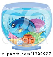 Clipart Of A Hippo Blue Tang Marine Fish In A Bowl Royalty Free Vector Illustration