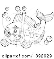 Clipart Of A Black And White Lineart Marine Fish Wearing A Snorkel Mask Royalty Free Vector Illustration
