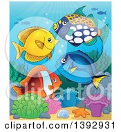 Clipart Of A Group Of Marine Fish Royalty Free Vector Illustration by visekart