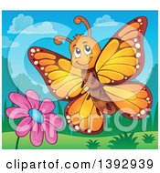 Clipart Of A Happy Orange Butterfly Royalty Free Vector Illustration