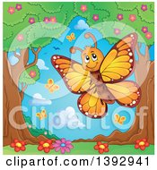Clipart Of A Happy Orange Butterfly In The Spring Royalty Free Vector Illustration