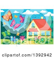 Clipart Of Happy Butterflies Royalty Free Vector Illustration by visekart