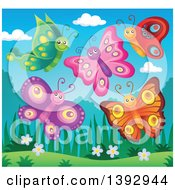 Clipart Of Happy Butterflies Royalty Free Vector Illustration