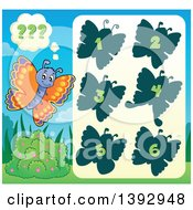 Clipart Of A Butterfly Game Royalty Free Vector Illustration