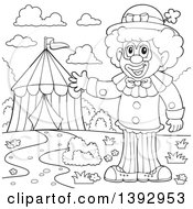 Clipart Of A Black And White Lineart Circus Clown By A Big Top Tent Royalty Free Vector Illustration