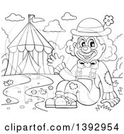 Clipart Of A Black And White Lineart Circus Clown Waving By A Big Top Tent Royalty Free Vector Illustration