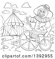 Clipart Of A Black And White Lineart Circus Clown On A Bike By A Big Top Tent Royalty Free Vector Illustration by visekart