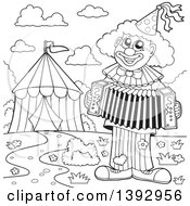 Clipart Of A Black And White Lineart Circus Clown Playing An Accordian By A Big Top Tent Royalty Free Vector Illustration