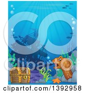 Clipart Of A Sunken Ship Treasure Chest And Eel Royalty Free Vector Illustration by visekart