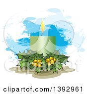 Clipart Of A Green Christmas Candle And Holly Over Paint Strokes Royalty Free Vector Illustration