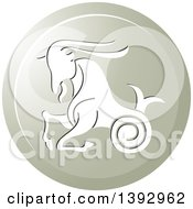 Clipart Of A Round Gradient Capricorn Sea Goat Horoscope Astrology Icon Royalty Free Vector Illustration