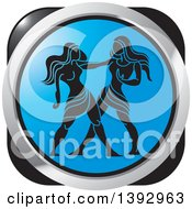 Clipart Of A Black Blue And Silver Gemini Horoscope Astrology Icon Royalty Free Vector Illustration