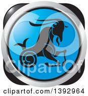Clipart Of A Black Silver And Blue Capricorn Sea Goat Horoscope Astrology Icon Royalty Free Vector Illustration by Lal Perera