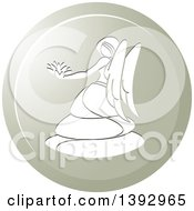 Clipart Of A Round Gradient Virgo Horoscope Astrology Icon Royalty Free Vector Illustration by Lal Perera