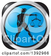 Clipart Of A Black Blue And Silver Libra Horoscope Astrology Icon Royalty Free Vector Illustration