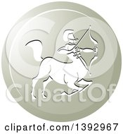 Clipart Of A Round Gradient Sagittarius Centaur Archer Horoscope Astrology Icon Royalty Free Vector Illustration