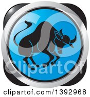 Clipart Of A Blue Silver And Black Taurus Bull Horoscope Astrology Icon Royalty Free Vector Illustration