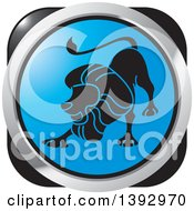 Clipart Of A Black Blue And Silver Lion Leo Horoscope Astrology Icon Royalty Free Vector Illustration