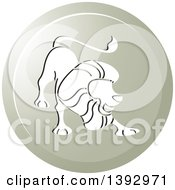 Clipart Of A Round Gradient Lion Leo Horoscope Astrology Icon Royalty Free Vector Illustration