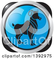 Clipart Of A Black Silver And Blue Aries Ram Horoscope Astrology Icon Royalty Free Vector Illustration