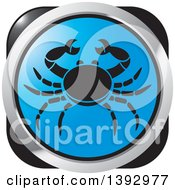 Clipart Of A Black Silver And Blue Crab Cancer Horoscope Astrology Icon Royalty Free Vector Illustration